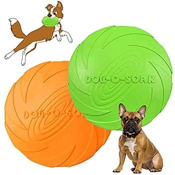Disque Chien,frisbees pour Chien,2 Pcs Frisbee Jouet Chien,pour Jeux Sport Exercice Activité et Jeu en Plein,pour Petits et Moyens Chiens (Bleu*Orange) (S)