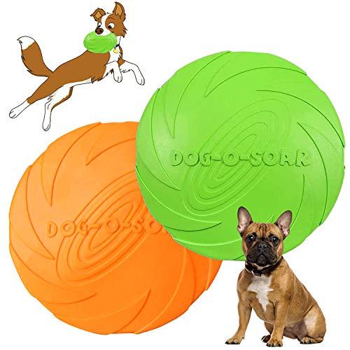 Hunde Frisbees,Hund Scheibe,2 Stück hundespielzeug Frisbee,Gummi Frisbee,für Land und Wasser,Hundetraining, Werfen, Fangen & Spielen(Grün + Orange)(S)