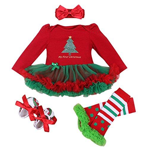 Barboteuse + Bandeaux des Cheveux + Jambières + Chaussures - Vêtement Bébé Fille Accessoires pour Fête Anniversaire - Age Adapté 1-2 Ans
