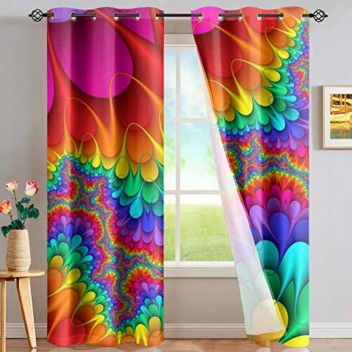"PZZ BEACH Rainbow Tie Dye Colorful Curtain for Bedroom Living Room Bathroom, Darkening Blackout Window Curtain, Trippy Style, Set of 2 Panels, 52"" x 84"""