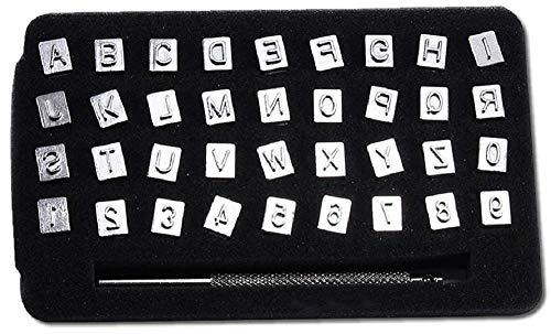 レザークラフト 刻印セット 6mm 3mm 打刻印 ポンチ 36点セット アルファベット 数字 銅板 真鍮板 アルミ版 指輪 軟質の金属tecc-lezakoku 6mm