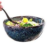 YankimX - Cuenco grande de cerámica para frutas y ensalada, cuenco grande para tomar el plato, cuenco de frutas retro