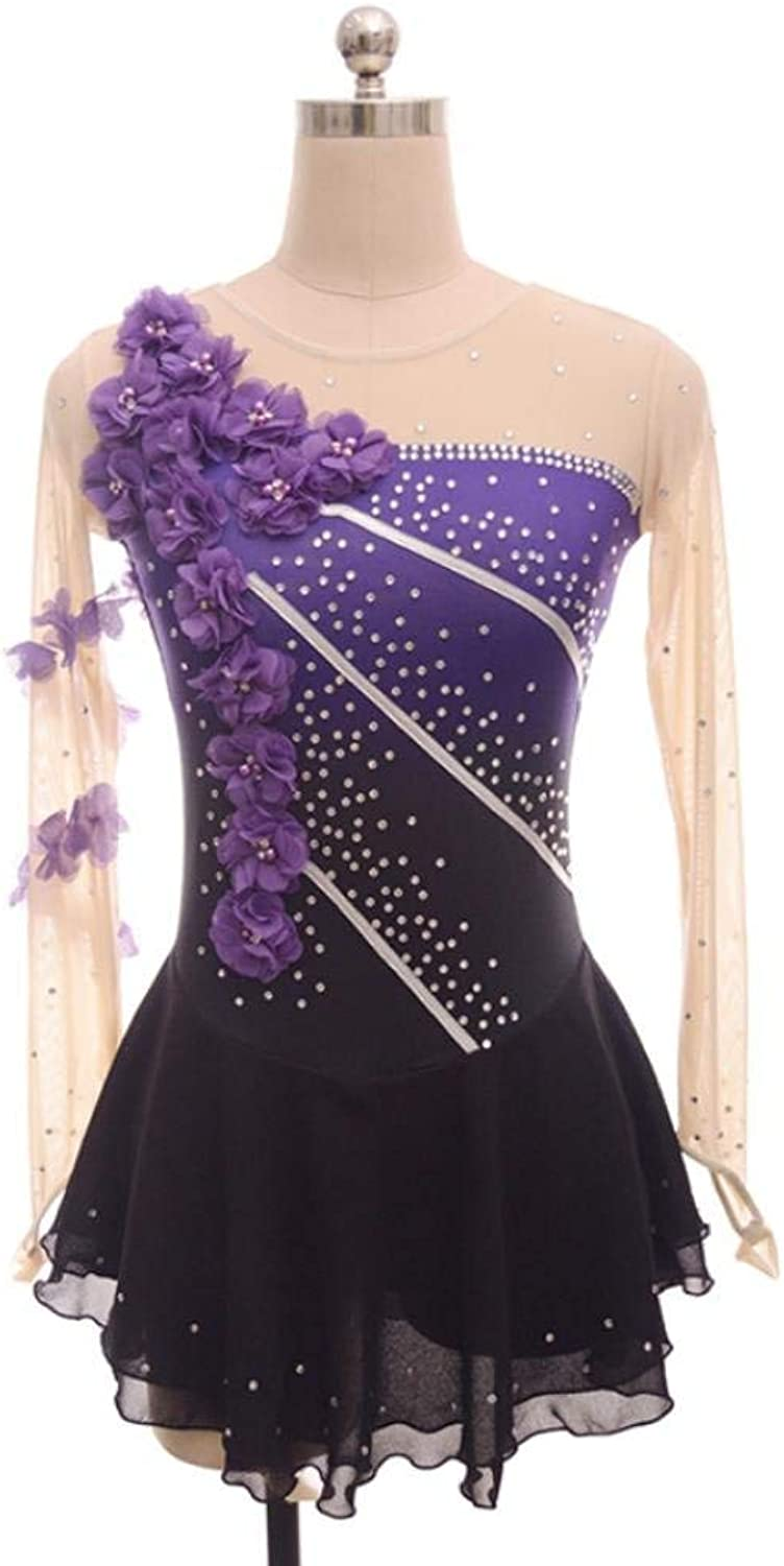 Figure Skating Dress for Girls Women, Handmade Ice Skating Competition Performance Crystal Applications Long Sleeved Purple