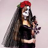 E-more Halloween Stirnband mit schwarzer Spitze Schleier, elastische Rose Blume Haarband rote Rosen Mesh Spitze Haarschmuck Halloween Geist...