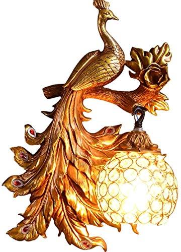 Lámparas de pared industriales, Luz de pared interior de interior vintage creativo a mano tallada de oro auspicioso lámpara de pared de resina natural de pavo real con corte de cristal para la sala de