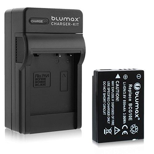 Blumax Akku ersetzt DMW-BCG10 / DMW-BCG10E 850mAh + Ladegerät | kompatibel mit Panasonic Lumix DMC 3D1 TZ36 TZ31 TZ25 TZ22 TZ18 TZ10 TZ8 TZ7 TZ6 ZX3 ZX1 Leica V-Lux 20, V-Lux 30, V-Lux 40