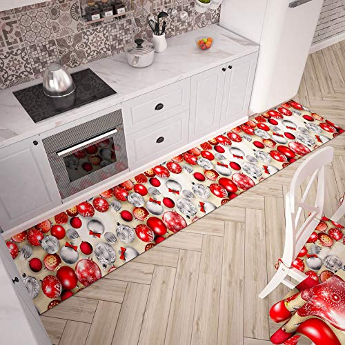 PETTI Artigiani Italiani - Teppich für Küche, Weihnachten, Läufer für die Küche, rutschfest und waschbar, 52 x 280 cm, Design Kugeln, 100 % Made in Italy