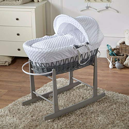 FYLO White Dimple Grey Wicker Moses Basket and Grey Rocking Stand