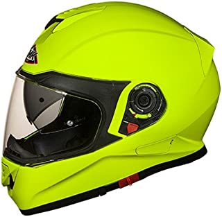 SMK HV400 Twister Pinlock Fitted Full Face Helmet with Clear Visor (Fluorescent Yellow, XL)