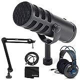 Samson Q9U XLR/USB Dynamic Broadcast Microphone + Professional Studio Reference Headphones + Mic Boom Arm + Mic Cable + Cloth - Top Value Bundle