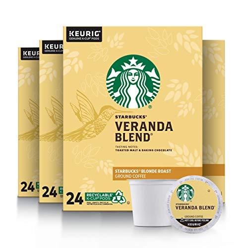 Starbucks Blonde Roast K-Cup Coffee Pods - Veranda Blend for Keurig Brewers - 4 Boxes (96 Pods Total)
