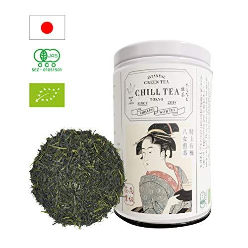 Té verde sencha orgánico premium de CHILL TEA Tokyo - Té sencha en hebras - Té verde vegetariano y no genéticamente modificado - Rico en vitaminas, fibras y aminoácidos - Delicado sabor umami - 60 grs
