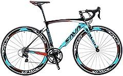 SAVADECK Bicicleta de carretera de carbono, bicicleta de carretera Warwinds3.0 700C de fibra de carbono con sistema de cambio Shimano SORA 3000 18S, neumáticos Michelin 25C y freno double V (azul, 52)