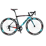 SAVADECK Bicicleta de carretera de carbono, bicicleta de carretera Warwinds3.0 700C de fibra de carbono con sistema de cambio Shimano SORA 3000 18S, neumáticos Michelin 25C y freno double V (azul, 54)