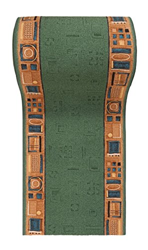 WE LOVE RUGS CARPETO Läufer Teppich Flur - Modern Muster - Rückseite aus Gummi Anti-Rutsch - Kurzfloor Teppichläufer nach Maß - Gel-MAX Kollektion Grün Beige 100 x 300 cm