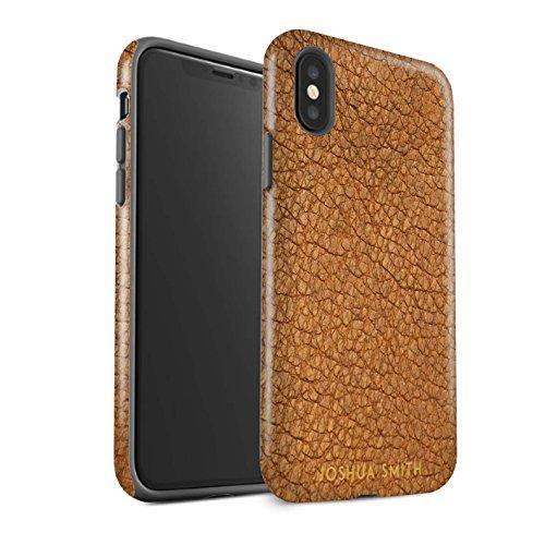 Stuff4 Personalizzato Effetto Pelle Personalizzare Matte Custodia/Cover per Apple iPhone XS/Timbro Marrone Cacao Design/Iniziale/Nome/Testo Caso/Cassa Antiurto