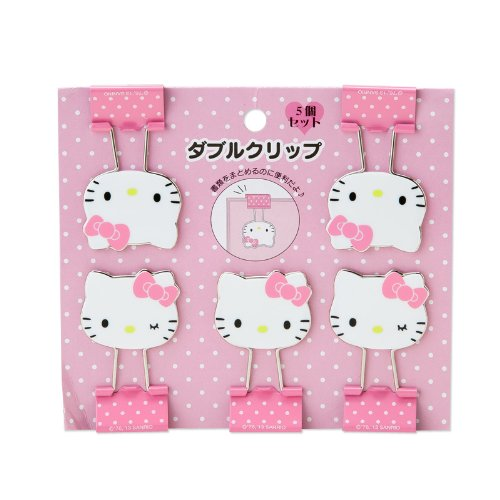 Hello Kitty face shape double clip set (japan import)