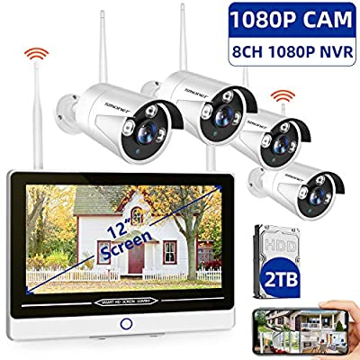 """?2TB Hard Drive Pre-installed?SMONET All in One with 12"""" Monitor 1080P Security Camera System Wireless,8-Channel Outdoor Home Camera System,4pcs 2.0MP(1080P) Waterproof Wireless IP Camera,P2P,Free APP"""