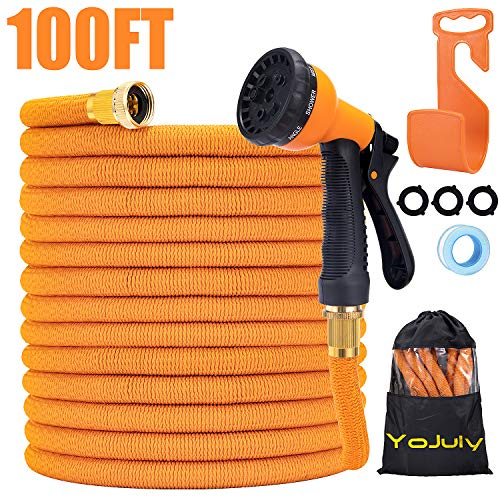 YOJULY Garden Hose Expandable -100ft Expandable Hose, Leakproof Lightweight Expanding Garden Water Hose 3-Layers Latex,Best Choice for Watering and Washing (100FT)