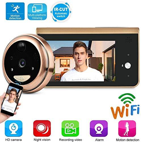 Wifi digitale kijkgaatje 4,3 inch 1MP 1280x720P 25fps deur eye viewer bewakingscamera visuele slimme app elektronische kattenogen 166 ° PIR bewegingssensor nachtzicht bewakingscamera monitor