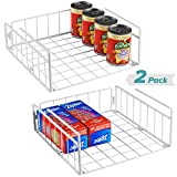 Bextsware 2 Pack Under Shelf Basket, White Wire Rack Under Cabinet Organizer, Slides Under Shelves Storage on Kitchen Pantry Office Desk Bookshelf
