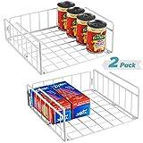 Bextsware 2 Pack Under Shelf Basket, White Wire Rack Under Cabinet Organizer, Slides Under Shelves Storage on Kitchen Pantry Office Desk Bookshelf
