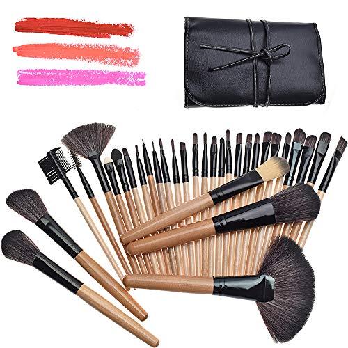 Aidue Make-up-Pinselset, 32 Stück, Kosmetikpinsel für Eyeliner, Lidschatten, zum Verblenden, inkl. Pinseletui aus Kunstleder