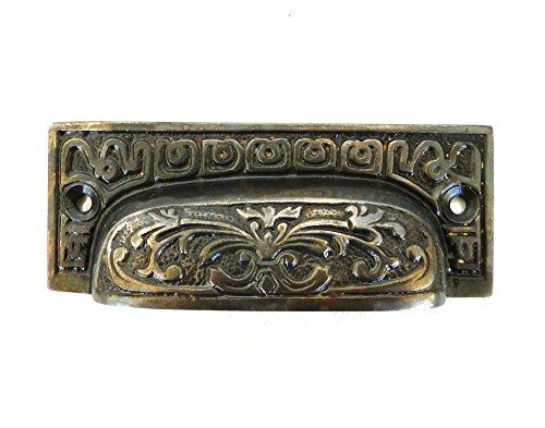 Aged Dark Bronze BIN Pull Victorian Vintage Replica Hardware for Restoration