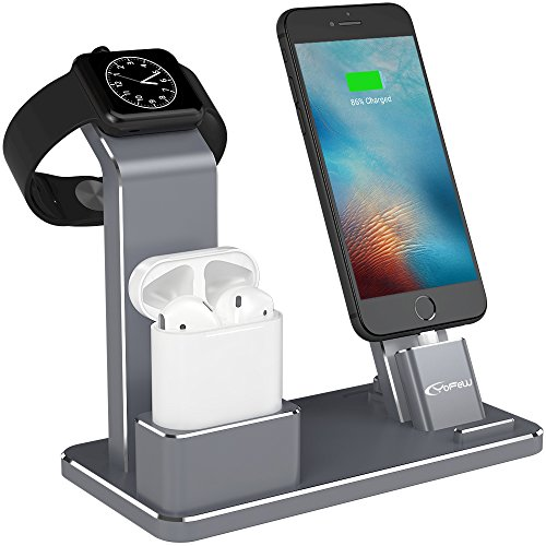 YFW Apple Watch Stand in alluminio 4 in 1 Apple Watch Charger Dock con accessori per AirPods Charging Docks Stand per Apple Watch Serie 3/ 2/ 1 / AirPods / iPhone X / 8 8 Plus 7 7Plus 6s iPad(Grigio)