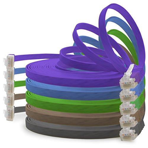 Cable de red plano Cat 6 (1 m, 5 colores, 1000 Mbit/s,...