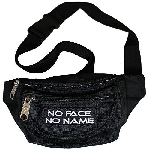 Bauchtasche No Face No Name Gürteltasche mit drei Fächern und abnehmbaren Patch in schwarz