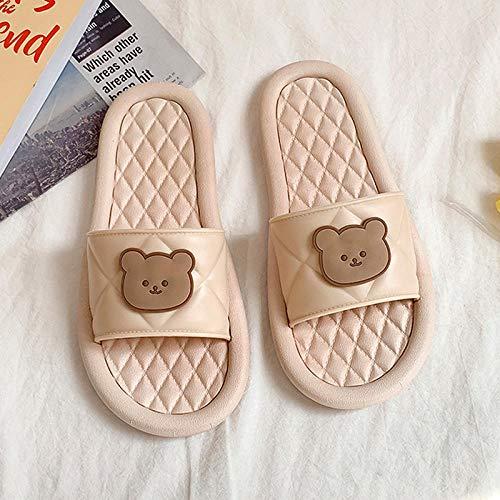 LLGG Mujeres Zapatos de Piscina Chanclas de Playa,Cabina de Piso Suave Interior, Masaje en el hogar-Albaricoque_38-39,Zapatillas de Ducha para el hogar