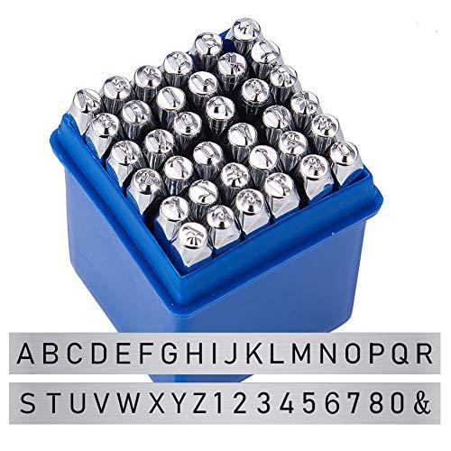BENECREAT 36 Pack (3 mm 1/8') Sellos de Letras y números Herramientas Estampadas de Metal Perforado - Material de Acero de Carbono Duro Galvanizado para Perforación Metal, Joyería, Cuero, Madera