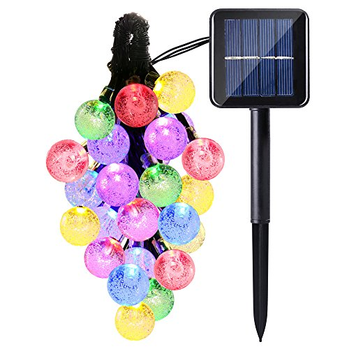 Icicle Solar String Lights Outdoor, 20ft 30 LED Solar Bubble...