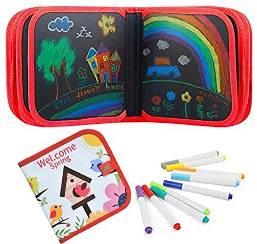 Afufu Tabla de Dibujo Portátil para Niños 2 3 4 + años, Tablero de Dibujo de Graffiti Libros Blandos de Pizarra juguetes, Montessori Juegos de Pintura para Educación Preescolar Bebés Niñas, 14 Páginas
