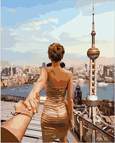 Schilderen op cijfers DIY digitaal olieverfschilderij zoek naar Shanghai China afbeelding tekening op canvas kleuring handwerk 40 x 50 cm