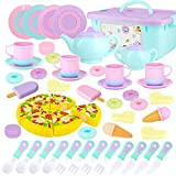 SevenQ 51 Pcs Tea Set for Little Girls, Kids Tea Party Set Princess Pretend Play Food Toys with Teapots, Teacups, Dishes, Cookies, Dessert, Pizza, for Toddlers, Boys, Girls
