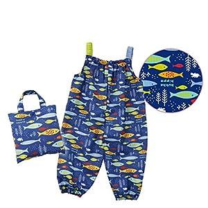 小川(Ogawa) キッズプレイウェア 子供 お砂場着 90cm クッカヒッポ おさかな 汚れにくい 裾にゴム付き はっ水 バック型収納袋付 83197