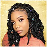 Woeoe African Braids Clip Silver Beads Dreadlock Rings Jewelry Box Hair Charms Accessories for Black Women and Girls (Pack of 7) (Shell)