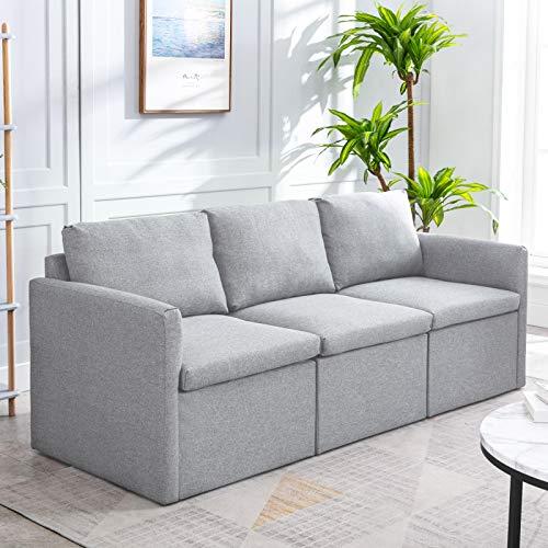 Pumpumly Sofá de tres plazas, asiento profundo, de tela suave, acolchado grueso, respaldo alto, montaje a voluntad, moderno sofá de 3 plazas, color gris claro