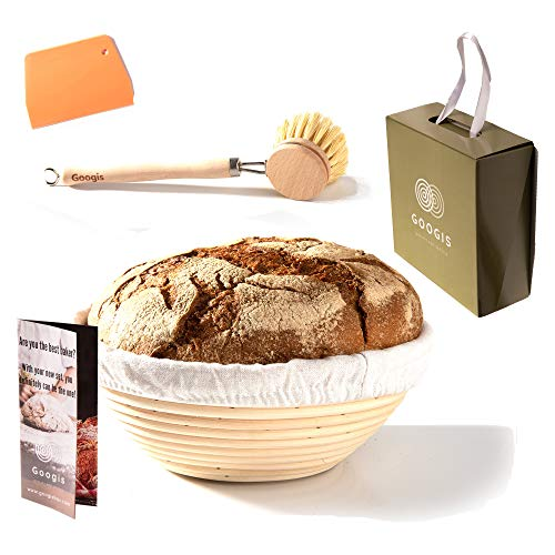 Banneton Proofing Basket Set – 9 Inch Bakers Bread Basket for Making Sourdough & Artisan Bread Includes Linen Liner, Dough Scraper, Cleaning Bristle Brush, Recipe eBook, & Beautiful Gift Box by Googis