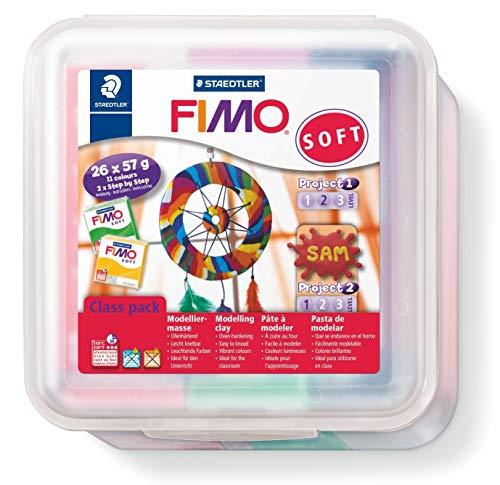 Staedtler FIMO Soft, Pack de 26 pains de pâte à modeler FIMO, À cuire au four pour tout type de réalisations, 8023 50 LX