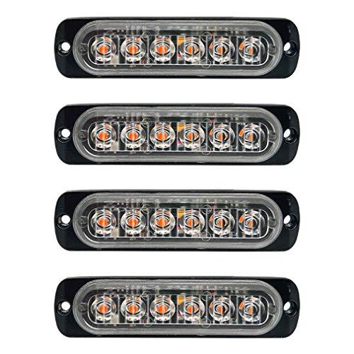 D-TECH 12/24V 4 Stk LED Blitzlichter Warnlicht Stroboskoplicht Blinklichter Frontblitzer Rundumleuchte Amber Notlicht-Leuchtfeuer für LKWs Traktoren Gabelstapler
