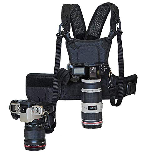 Nicama Bandolera de transporte nuevo fotógrafo correa de pecho cuerpo elástica regulable con lado Funda de cámara 1/4 tornillos para Canon, Nikon, Sony, cámara DSLR