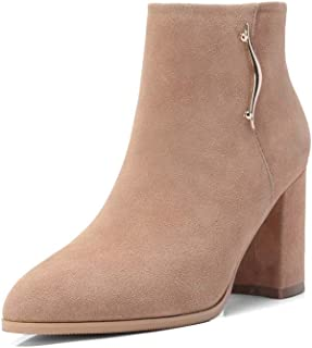 SF Boots and Booties for Women,Autumn Leather Martin Boots Thick High Heel Boots Metal Bare Boots Zipper Single Boots Women's Boots