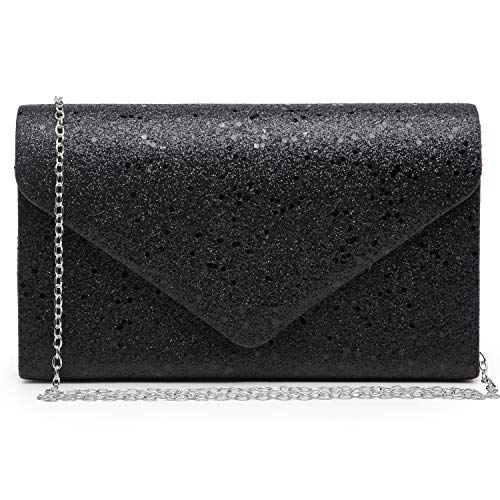 Dasein elegant evening bag / party clutch for women, with variousvarious color options. High quality glistening body framed by SILVER-tone hardware with removable chain strap. Soft fabric interior with top pouch pocket will fit your phone, cash, and ...