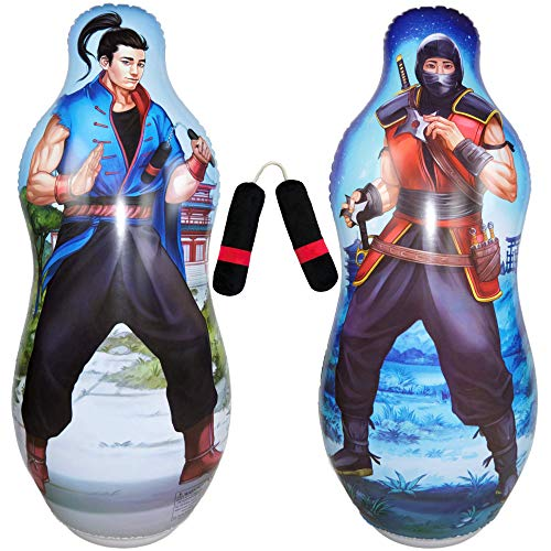 Inflatable Two Sided Punching Bag & Plush Nun-chuck Set | Includes one 48' Tall Bop Bag (Ninja Illustration on Front and Kung Fu Master on Back) Plus One Soft Nun-chuck | Premium Materials & Artwork