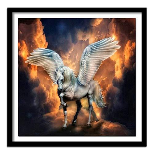 hetingyue DIY Malen nach Zahlen Digitale Malerei für Erwachsene Tengyun Pegasus mit Pinsel und Acrylfarbe rahmenlose Malerei 40X40cm