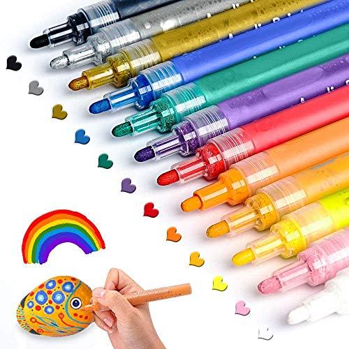 Acrylstifte für Steine Bemalen Set ANYUKE 12 Acrylfarben Stifte zum Steine Bemalen Holz Tassen Keramik Glas Kunststoff Schwarze Papier, Stift Steine Basteln Kinder Erwachsene Malset Vatertag Geschenk