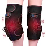 HailiCare Wireless Heated Knee Massager Vibration Knee Pads Heated Knee Brace Wrap for Recovery 2pcs for Left and Right Powered by Portable Charger Heating Pads Valentines Day Gifts